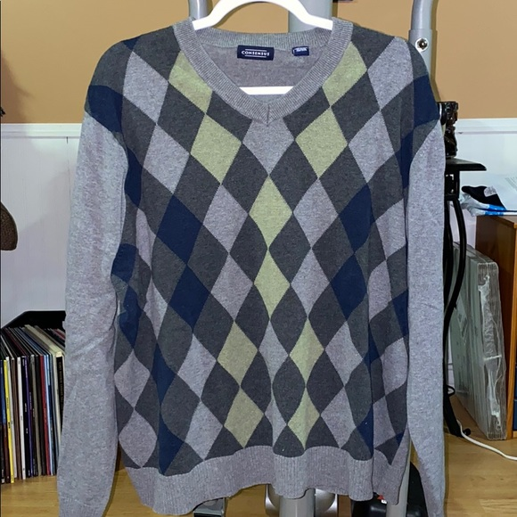 Green and Gray Argyle Sweater